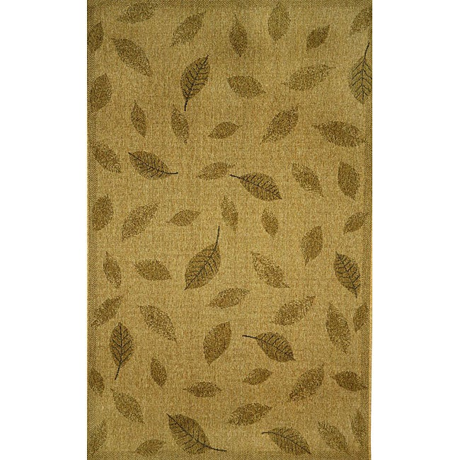 Floating Leaves Oatmeal Outdoor Rug (1'11 x 7'6)