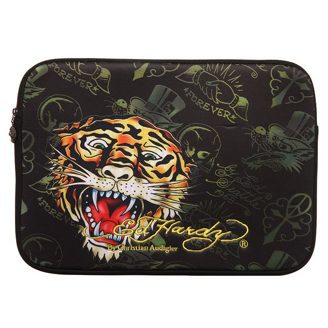 d2681d897638 Shop Ed Hardy Black Tiger 16-inch Laptop Sleeve - Free Shipping On Orders  Over  45 - Overstock.com - 4761130