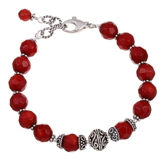 Lola's Jewelry Sterling Silver Red Sea Bamboo Coral Bracelet
