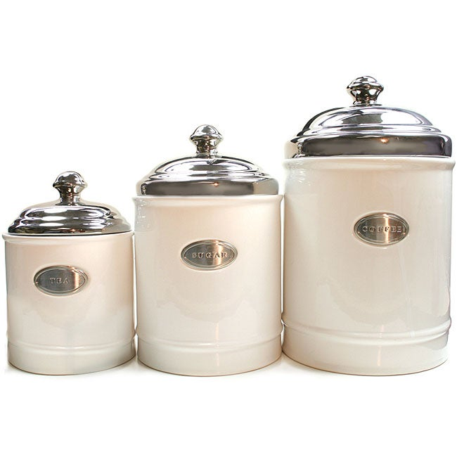 Fifth Avenue Crystal White Canisters with Metal Plated Covers (Set of 3)
