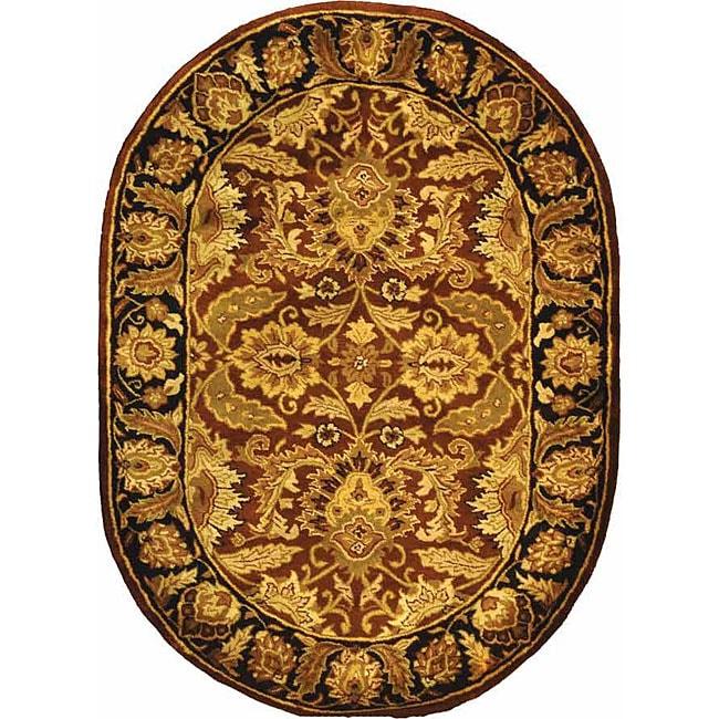 Safavieh Handmade Classic Jaipur Rust/ Black Wool Rug (4'6 x 6'6 Oval)
