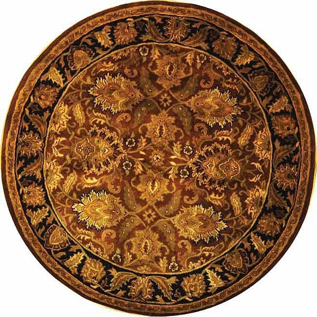 Safavieh Handmade Classic Jaipur Rust/ Black Wool Rug - 6' x 6' Round