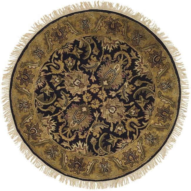 Safavieh Handmade Traditions Black/ Light Brown Wool Rug (3'6 Round)