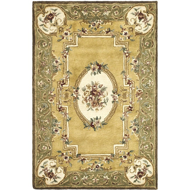 Safavieh Handmade Classic Light Gold/ Green Wool Rug (3' ...