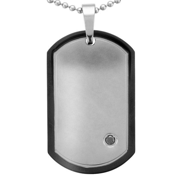Unending Love Stainless Steel Men's 1/10ct TDW Black Diamond Dog Tag Necklace