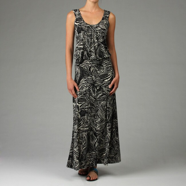 de4013a739 Shop Veronica M. Women's Leaf Print Drop-waist Maxi Dress - Free Shipping  On Orders Over $45 - Overstock - 4765739