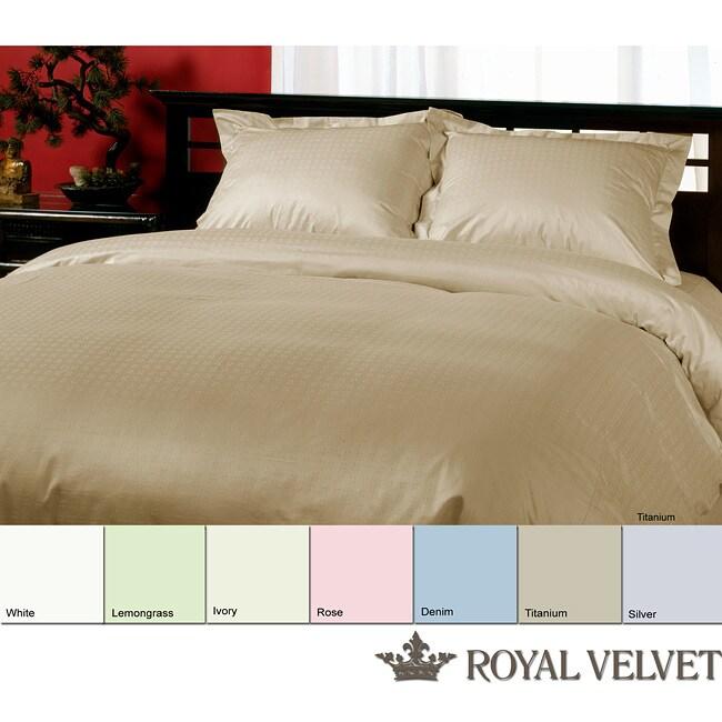 Royal Velvet Dotted Weave 330 Thread Count Duvet Cover Set