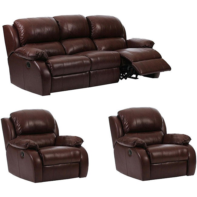 Wustrow Umber Italian Leather Power Reclining Sofa: Ashley 3-piece Brown Leather Reclining Sofa And Two Chair