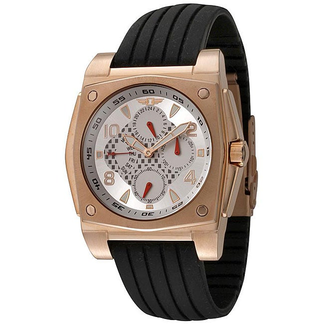 I by Invicta Men's Black Rubber and 18k Rose Goldplated Watch