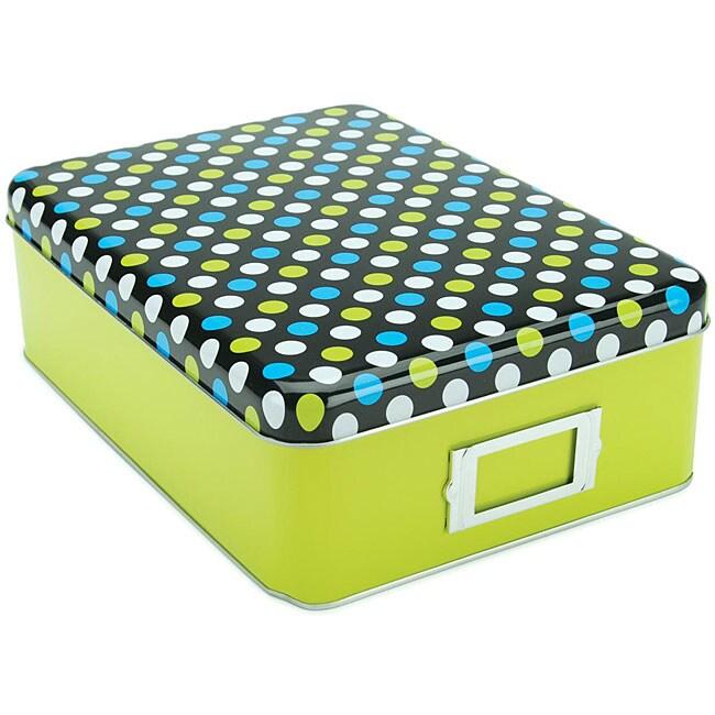 Mackinac Moon Green Tin Storage Box with Metal Label Holder