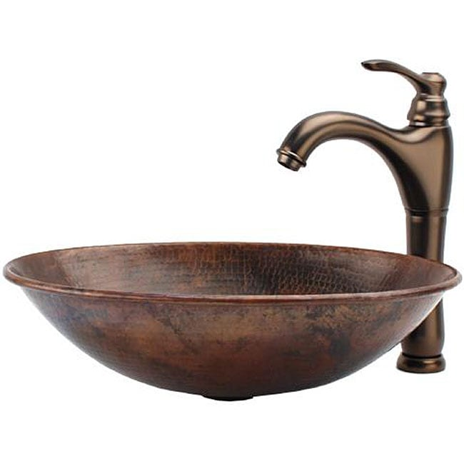 Copper Vessel Sink And Faucet Combo : Fontaine Oval Copper Vessel Sink and Faucet Combo - Free Shipping ...