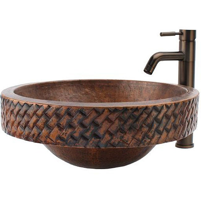 Copper Vessel Sink And Faucet Combo : Fontaine Round Copper Skirted Vessel Sink and Vessel Faucet Combo ...