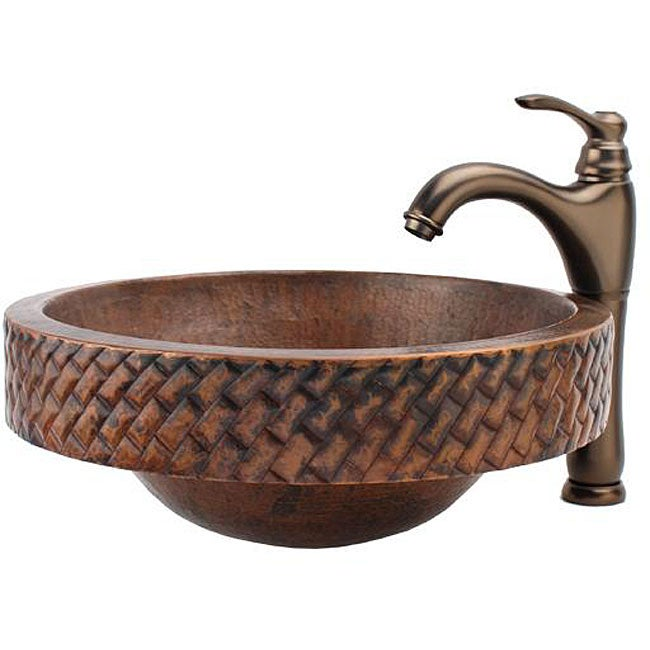 Copper Vessel Sink And Faucet Combo : Fontaine Round Copper Skirted Vessel Sink and Traditional Faucet Combo ...