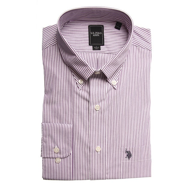 US Polo Men's Wrinkle Free Plum Striped Dress Shirt - Thumbnail 0