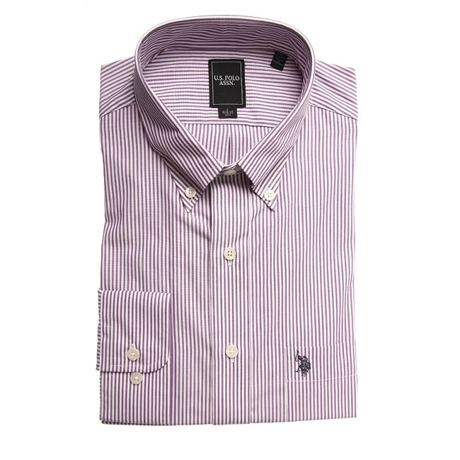 US Polo Men's Wrinkle Free Plum Striped Dress Shirt