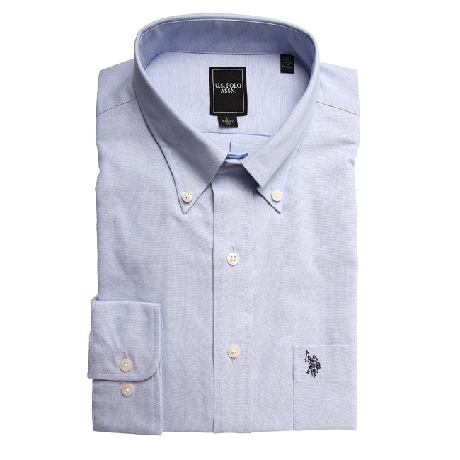 us polo men 39 s wrinkle free blue dress shirt free