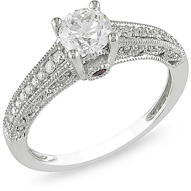 Miadora 14k Gold 1ct TDW Diamond and Pink Sapphire Engagement Ring (H-I, I2-I3)