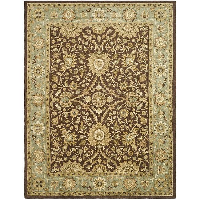"Safavieh Handmade Kerman Chocolate/ Gold Wool Rug - 9'6"" x 13'6"""