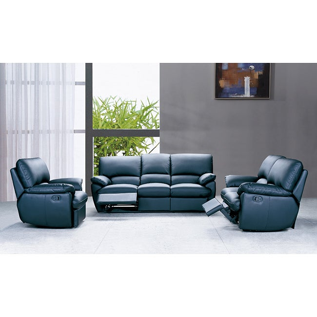Reclining 3-piece Black Leather Sofa Set