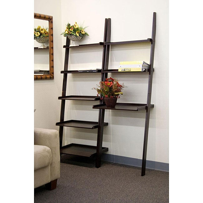 Cappuccino 2 Piece Leaning Ladder Book Shelf With Laptop