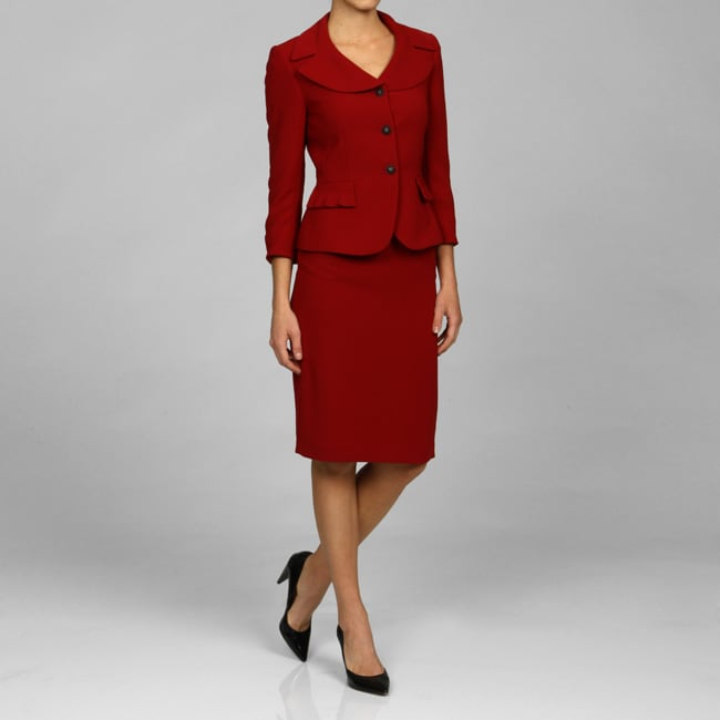 Tahari ASL Women's Portrait Collar Red Skirt Suit - Free Shipping ...
