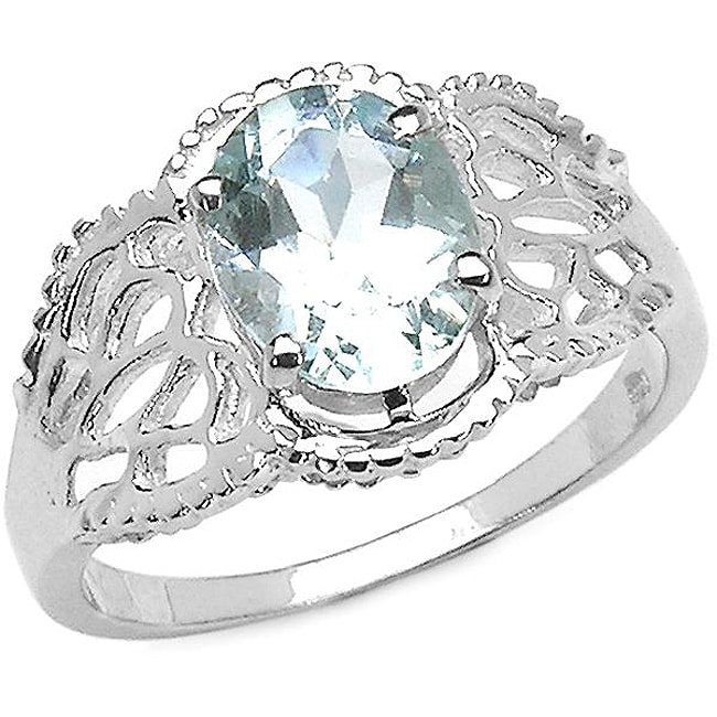 Malaika Sterling Silver Oval-cut Aquamarine Ring (1.45 mm)