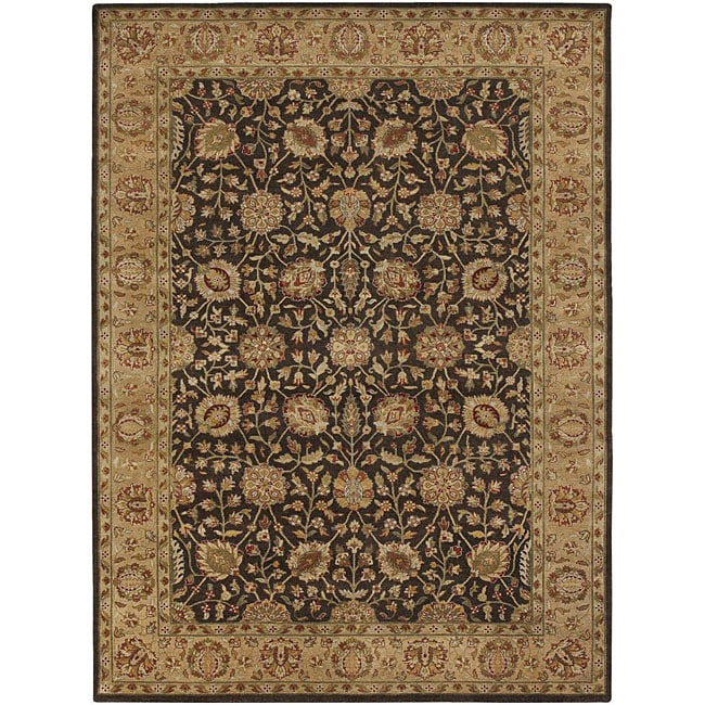 Hand-knotted Mandara Brown Wool Rug (9' x 13')