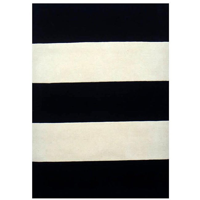 Hand Tufted Black Ivory Stripe Wool Rug 8 X 11 Free