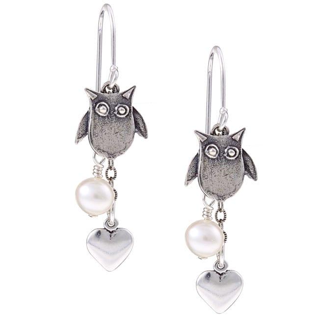 Lola's Jewelry Sterling Silver Owl Charm Pearl Earrings (6 mm)