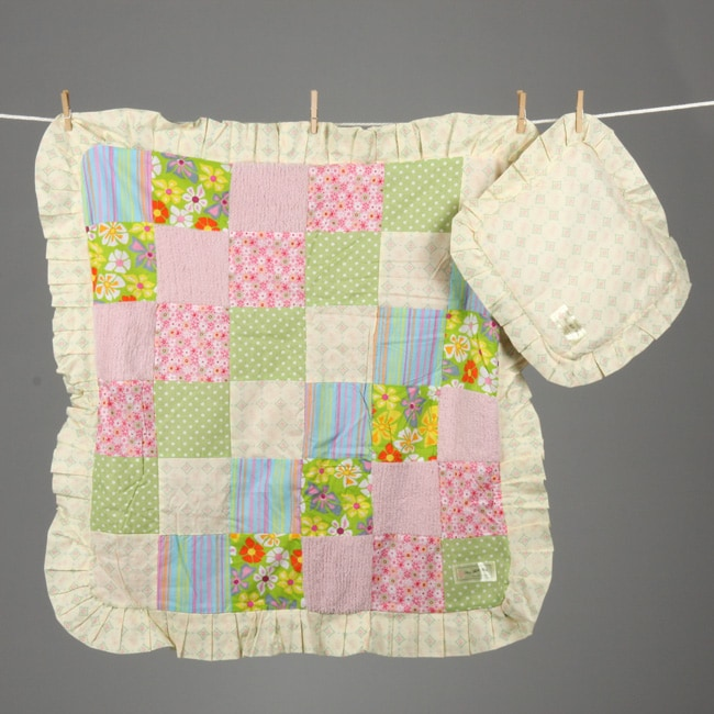 4d6394d7d1 Shop Mia Belle Baby Pink Dreams Patchwork Blanket and Pillow - Free  Shipping On Orders Over  45 - Overstock - 4786701