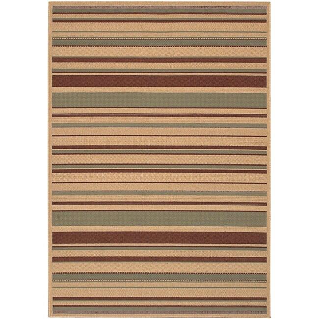 Cafe Beige Stripe Indoor/Outdoor Rug (7'6 x 10'9)