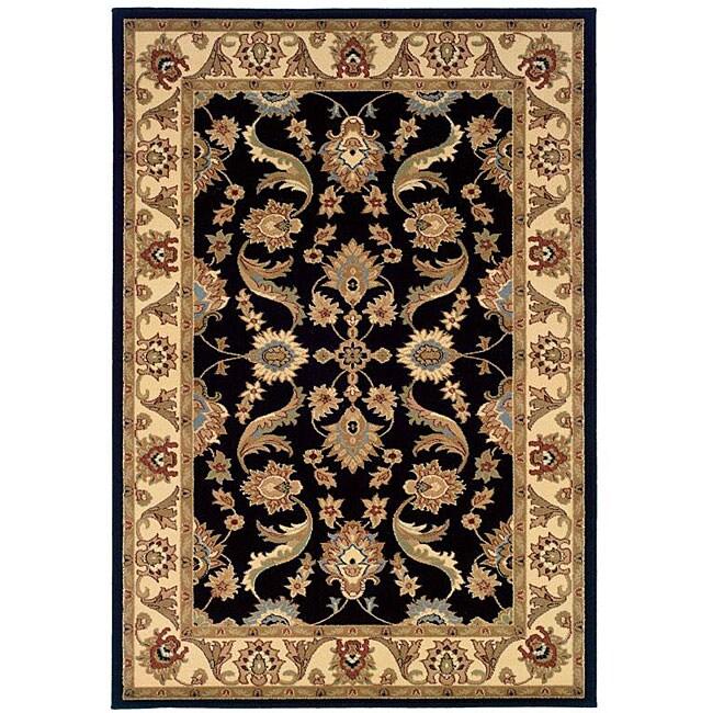 LR Home Adana Black / Cream Rug (5'1 x 7'5)