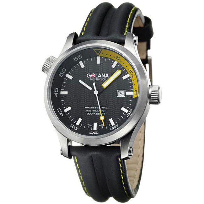 Golana Swiss Men's 'Aqua Pro 100' Black and Yellow Watch