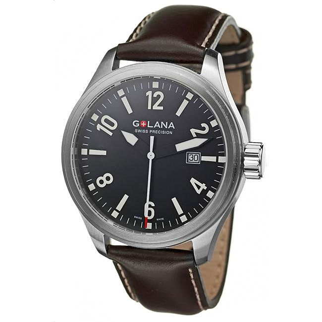 Golana Swiss Men's 'Terra Pro 100' Brown Leather Strap Watch