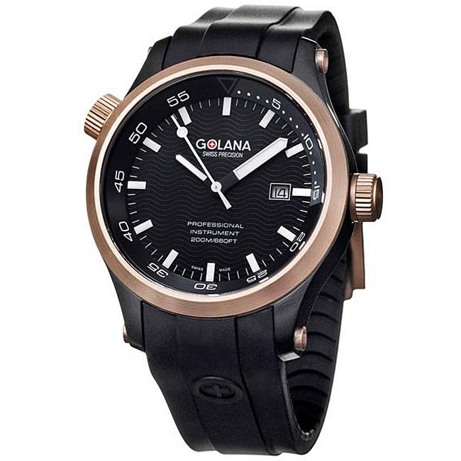 Golana Swiss Men's 'Aqua Pro 100' Two-tone Rubber Strap Watch