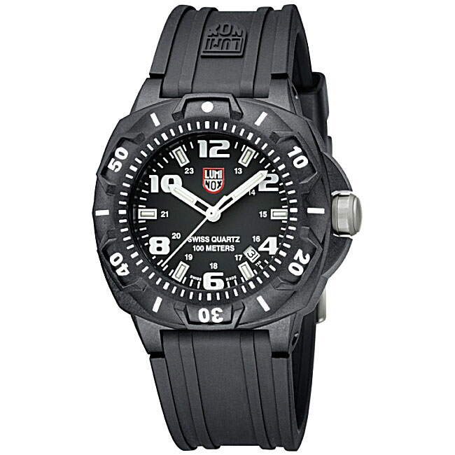 Luminox 201 Men's Sentry Silvertone Hands and Markers Black Dial Watch