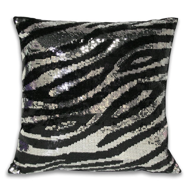 Sequined Zebra Animal Print Decorative Pillow Free