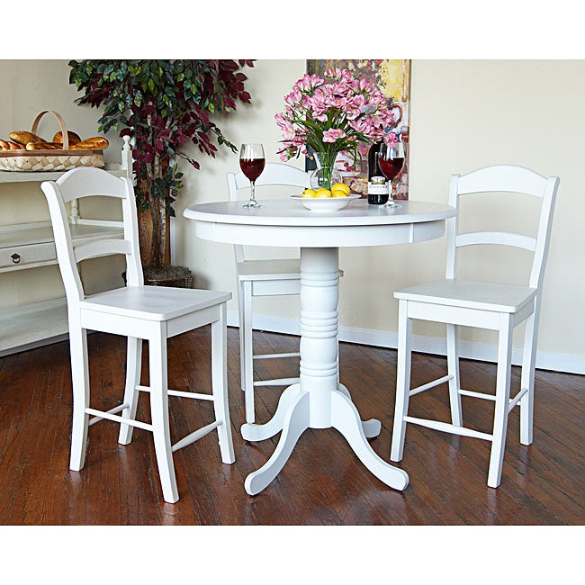 Overstock Bar Table: Hammond Antique White Pub Table