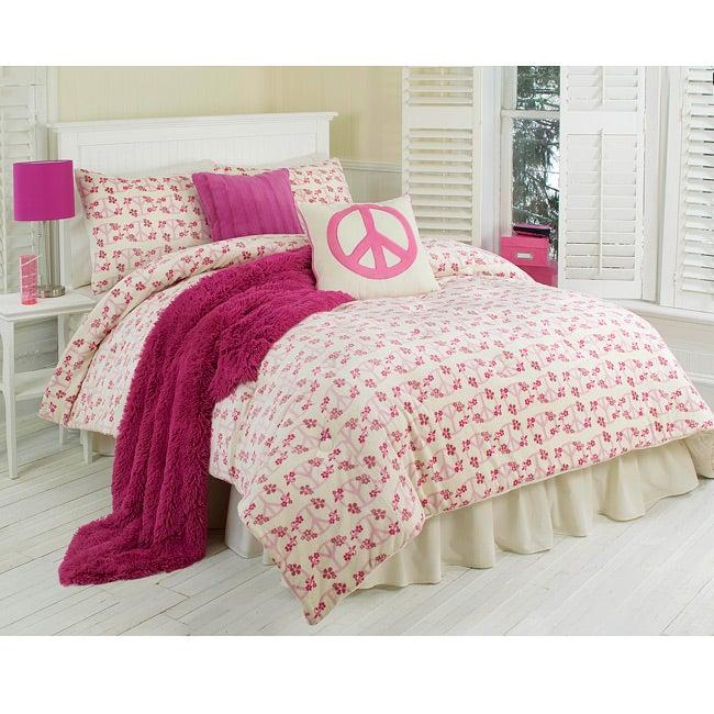 Floral Peace Sign 2-piece Twin-size Comforter Set