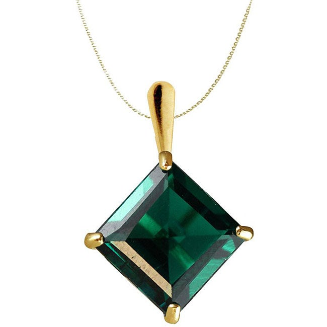 Gioelli 10k Yellow Gold Lab-created Emerald Necklace