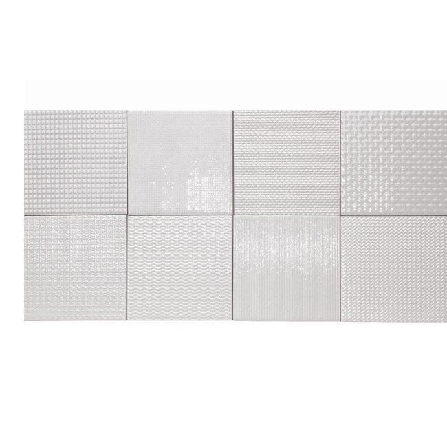 SomerTile 4x4-in Structure Blanco Porcelain Tile (Case of 50)