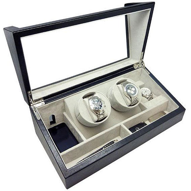 Heiden Black Leather Double Watch Winder Charging Valet Station