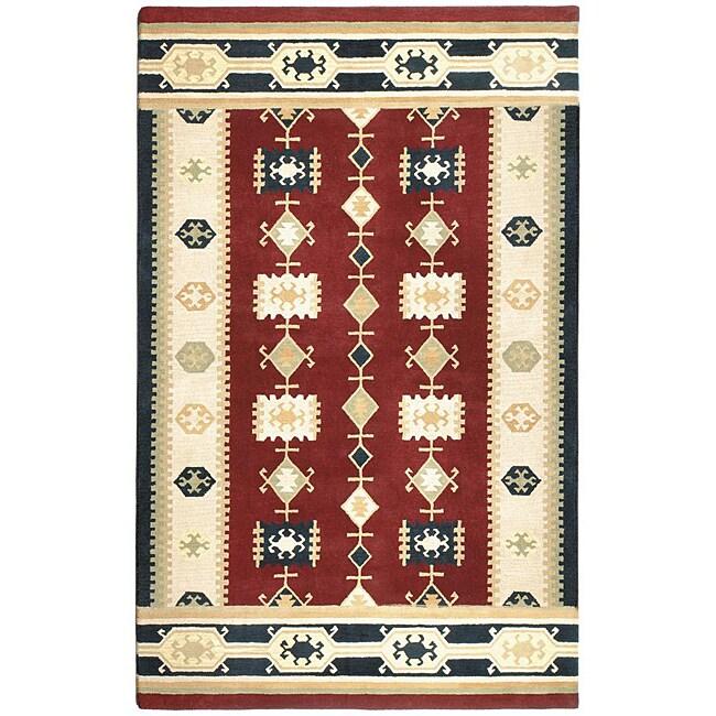 Hand-tufted Nara Vista Red New Zealand Wool Rug (5' X 8