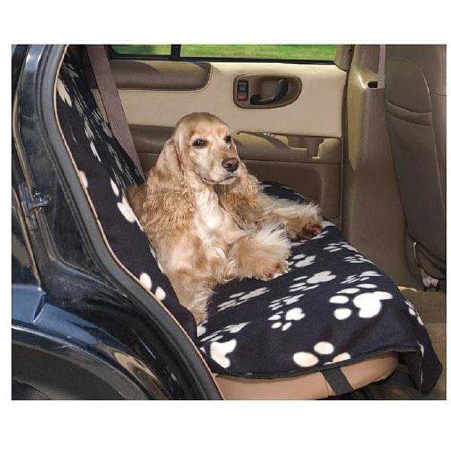 Shop Black Fleece Paw Print Dog Car Seat Cover Free