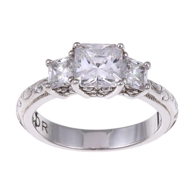 Tacori IV Sterling Silver Princess-cut Cubic Zirconia 3-stone Ring