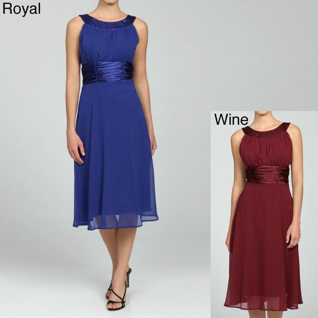 b6e84e5320cce Connected Apparel Women's Chiffon Shirred Dress