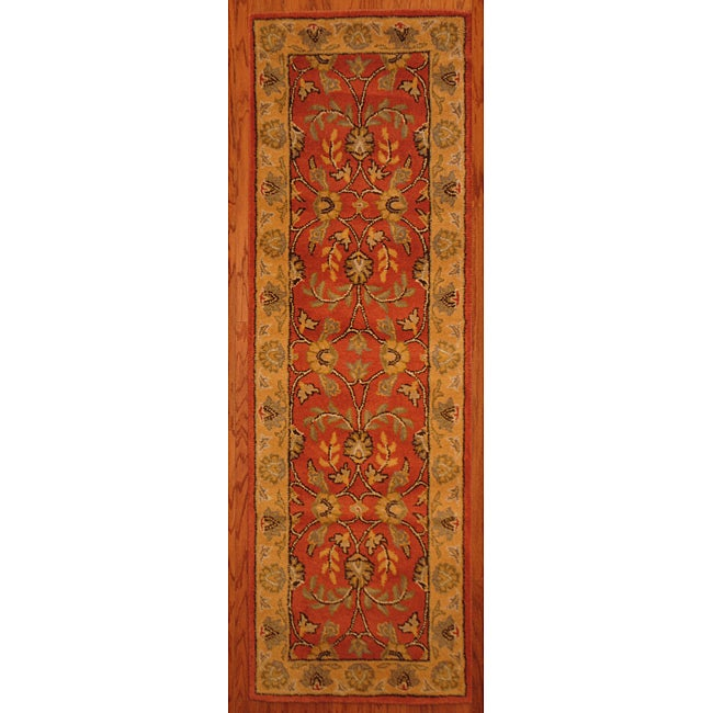 Indo Hand-tufted Kashan Rust Wool Runner (2'3 x 7')