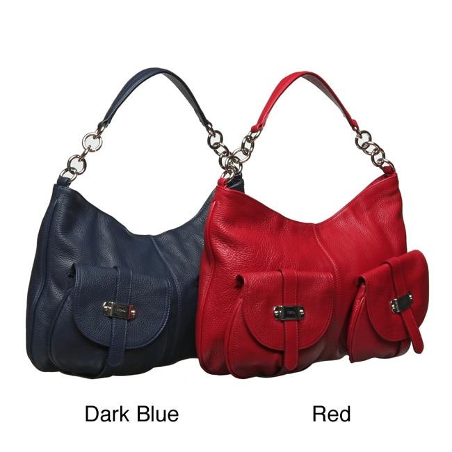 Furla Olympia Leather Hobo Handbag with Silvertone Hardware