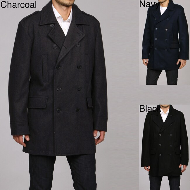 Kenneth Cole New York Men's Double Breasted Military Wool Blend Coat