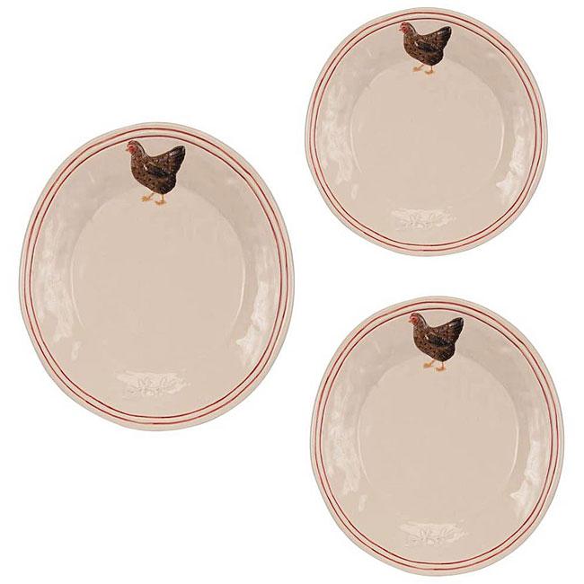 Rustic Hen Plates (Set of 3)